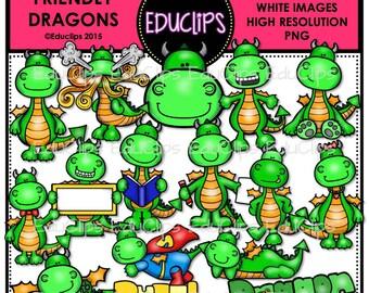 Friendly Dragons Clip Art Bundle