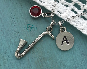 Saxophone Charm Necklace, Personalized Necklace, Silver Pewter Saxophone Charm, Custom Necklace, Musical Jewelry, Classical Music Gift