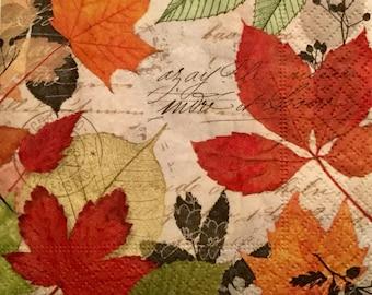 "Decoupage Beverage Napkins, Set of 3, Herbarium Autumn Leaves 10"" x 10"""