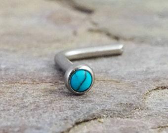 18g Turquoise Titanium Nose Stud L Bend Nose Ring