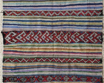 """102""""x60"""" Vintage Moroccan Rug Woven By Hand From Scraps Of Fabric / Boucherouite / Boucherouette"""