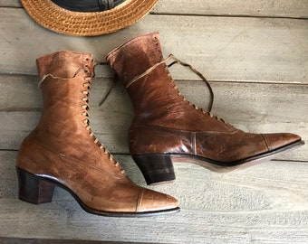 Antique Lace Up Boots, 1900s Edwardian Victorian, Brown Leather High Laced Boots