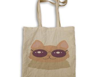 Cat in hipster glasses Tote bag v973r