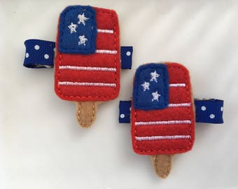 Embroidered Popsicle Flag clippie - Fourth of July Clip - Popsicle Feltie - Fourth of July Hairbow - Patriotic Bow - Red White and Blue Bow