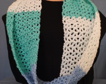 Hand Crocheted Lacy Striped Mobius Scarf