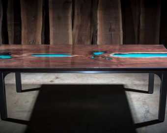A River Runs Through; Black walnut & Resin Dining Table