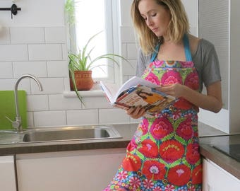 Kaffe Fassett Flower Apron in Teal or Coral