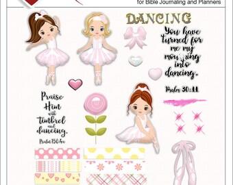 Sale! New: Dance Printable Bible Journal BOTH Digital Kit and Printable, Ballet, Ballerina,  Pink Yellow