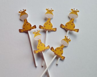 Giraffe Cupcake Toppers for Birthday party or Baby Shower (12 Count)