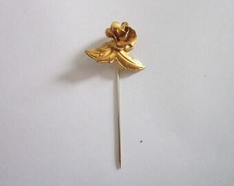 Vintage Gold tone Rose & Leaf Stickpin