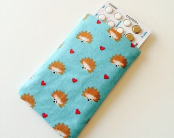Pill Case Birth Control Cozy- Napping Hedgehogs (aqua)