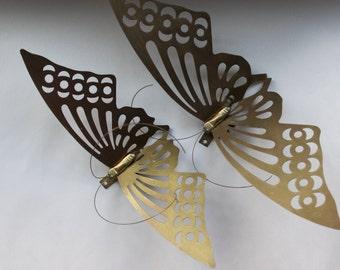 Vintage brass butterfly butterflies wall hanging wall decor home decor