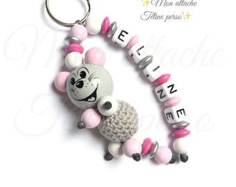 "Key ring personalized wood - pattern ""Eline"" pink mouse"