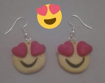 Smiley emoticons in polymer clay dangle earrings