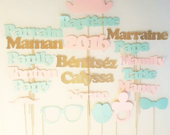 Lot photobooth baptism child-custom name-Godfather godmother - gold glitter