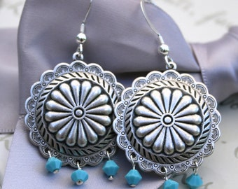 Southwest concho style earrings in Silver plated brass with Turquoise crystals