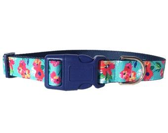 Blue Tropical Flower Girl Dog Collar - Adjustable Girl, Floral, Pretty Pink