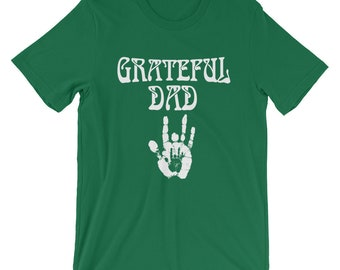 Grateful Dad Father's Day Shirt Gift For Dad Grateful Dead Deadhead Dad T Shirt Jerry Hand Mens Grateful Dead Fathers Day Short-Sleeve T-Sh