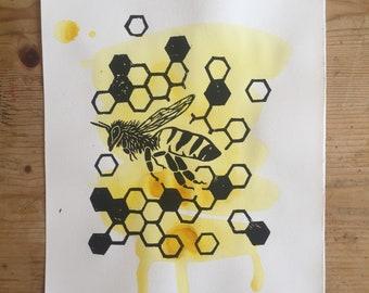 Honeybee Linoprint (A4)