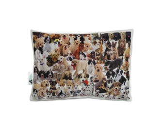 Mixed Dogs Rectangular Cushion, Add Custom Lettering, Handmade By Creature Comforts Direct, Personalised Dog Gift, Dog Pillow