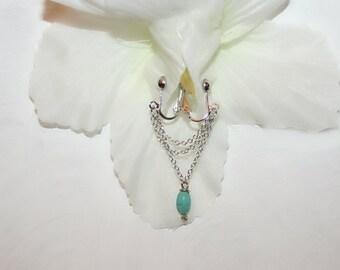 Clit Clip , Non piercing labia clip, Non Piercing Clitoris Labia Intimate Jewelry, Dangle Sexy Wife, oval Howlite (m2)