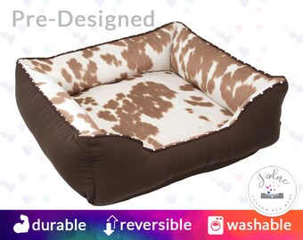 Faux Palomino Cowhide Dog Bed with Name Embroidery - Faux Fur, Country, Cat Bed - Washable, Reversible and High Quality