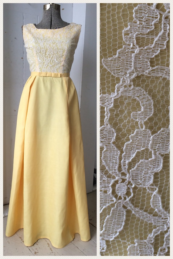 1960 Maxi Yellow Gold Dress Gown White Chantilly Lace Overlay