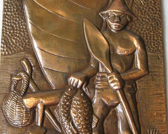 Vintage Copper Hammered Embossed , REPOUSSE , Wall Art by Ludovico of Brasil, Fisherman with his Catch of the Day!!!!