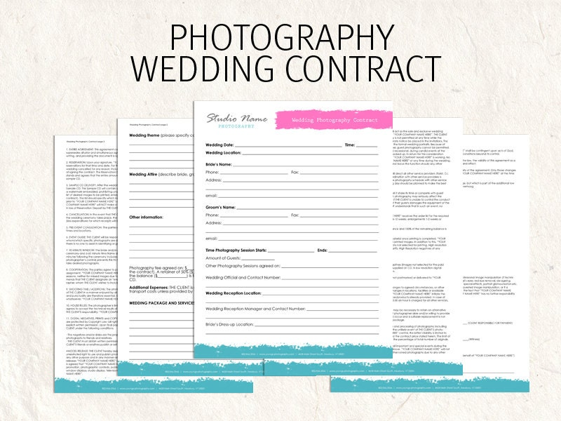 wedding flower contract wedding photography contract business forms flowers editable 9487
