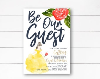 Be Our Guest Birthday Invitation, Beauty and the Beast Birthday Invitation, Princess Belle Birthday Invitation, Belle,  DIY or Printed