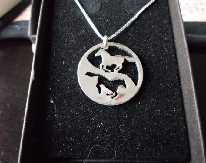 Reflection Two Horses quarter size w/ sterling silver chain
