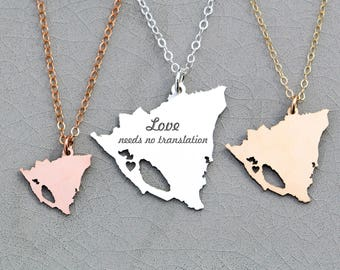 Nicaragua Necklace • Cutout Jewelry • Nicaragua Country Silhouette • Honeymoon Gift Idea • Vacation Gift Country Engraved Pendant