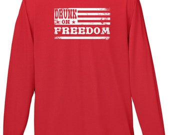 Drunk On Freedom Mens Long Sleeve -America Merica Party Friends Family Pool BBQ Drinks Beer Drunks Love Happy -DT-01396