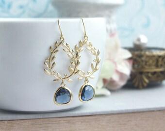 Sapphire Earrings, Gold Laurel Wreath Earrings, Navy Blue Wedding Earrings, Bridesmaid Earrings, September Birthstone Jewelry, Gift for Her