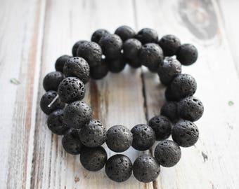 Black Lava 10mm Round Beads, Aromatherapy Black Lava Bead Strand, Stone Jewelry Supply, Full 16 inch Strand