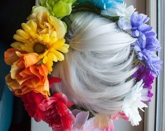 "LGBTQA+ PRIDE Rainbow Flag Themed Flower Crown (fits most adult sized heads at 22-23"" circumference)"