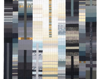 """Art Quilt, Wallhanging, Rising #40 - 5th Avenue. 80""""H x 42""""W. Pieced and quilted in 100% cotton, hanging sleeve."""