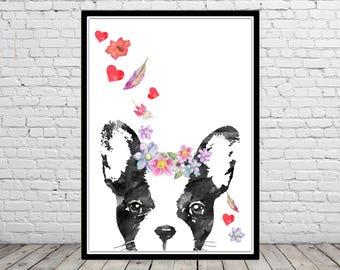 French Bulldog, French Bulldog peeking, Frenchie, Bullgog, floral dog, home decor, watercolor dog, animal art, dog (4432b)