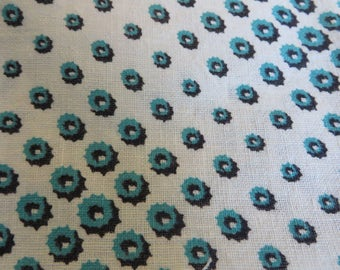Feed Sack PIECES in Blue Turquoise Black on White  //  Vintage Feed or Grain Sack  //  Antique Sack  //  Quilt Repair // Free Shipping