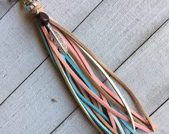 Purse Charm - Dusty Pink Blue Brown Tassel + Feather Charm Hippie Cowgirl Unique Gift for Her, Boho Bag Tassel Handbag Zipper Pull (KC234)