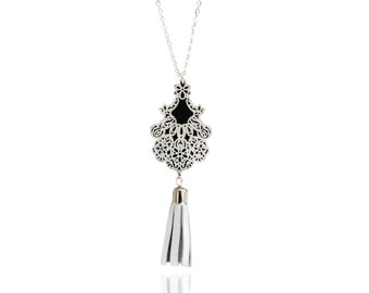 "leather long necklace ""empire""-silver plated long necklace-silver leather pompon-SARAYANA-"