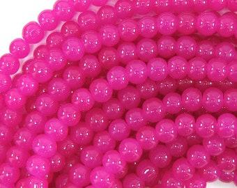 """6mm glass round beads 14"""" strand magenta 32512"""