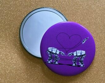 2.25 Inch AT-AT Mirror - Purple, Star Wars Mirror, Star Wars Gift, Star Wars Party, Pocket Mirror, Compact Mirror, Hand Mirror