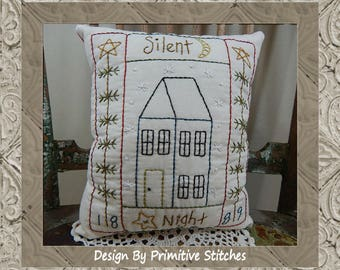 Silent Night Saltbox-Primitive Stitchery  E-PATTERN by Primitive Stitches-Instant Download