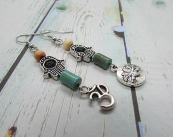 OM, LOTUS, & HAMSA Hand Mix Matched Zen Yogi Earrings, Namaste Earrings, Meditation Jewelry, Tranquility Earrings, Spiritual Earrings,