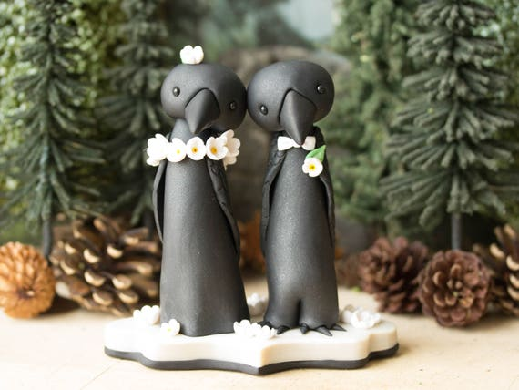 Crow Wedding Cake Topper