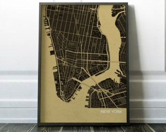 New York City Street Map, Travel Print - city, print, gift, wall décor, travel map, travel print, gift for him, gift for her, free shipping