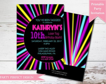 Neon Birthday Party, Glow Birthday Party, Laser Tag Birthday Party Invitation, Printable . Print Your Own