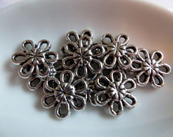 Set of 10 Silver Flower charms antiqued