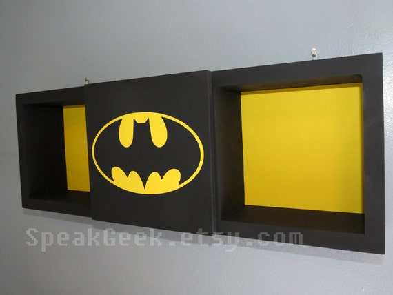 Batman   Shadow Box Shelf   Superhero   Home Decor   Cubbie Shelf   Hand  Made   Hand Painted U2013 Black And Yellow